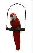 Parrot on Perch Hanging Decoration - Red