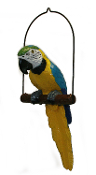 Parrot on Perch Hanging Decoration - Yellow/Blue