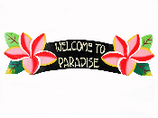 welcome to paradise plumeria sign product image
