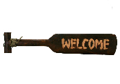 Welcome wooden Tahitian paddle sign product image